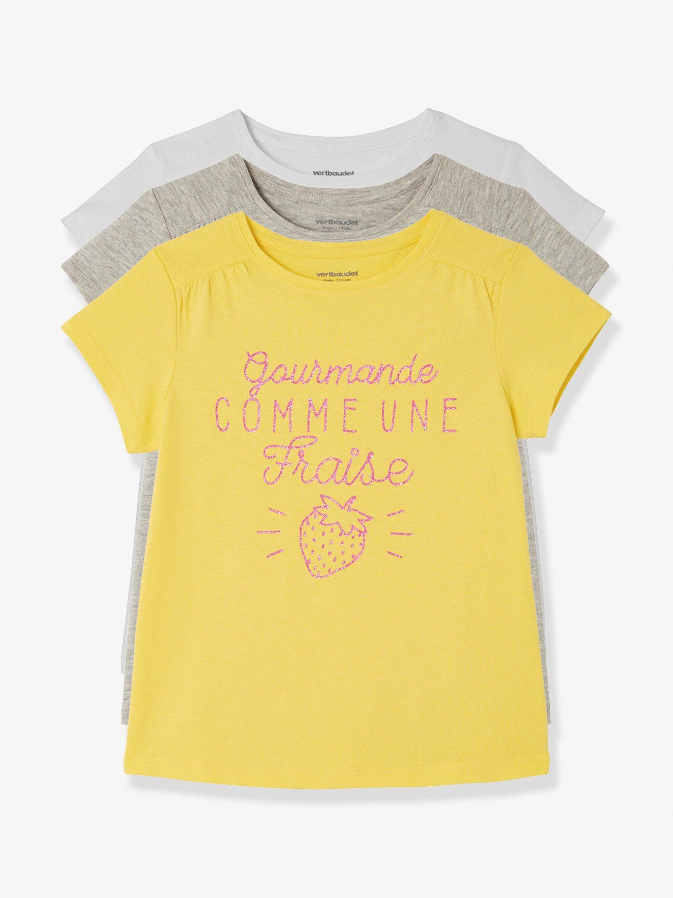 c50bcfb10800e Lot de 3 T-shirts manches courtes fille - blanc+gris chiné+jaune en ...