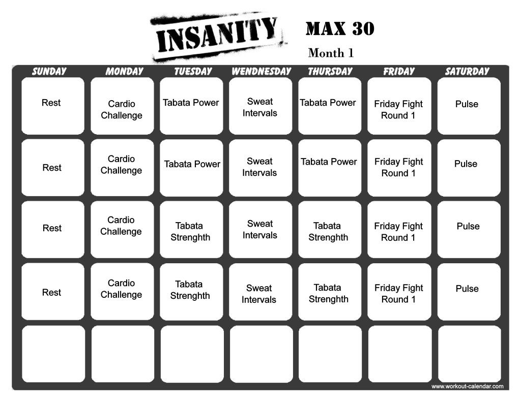 Insanity Max  Month   Workout Routine    Insanity