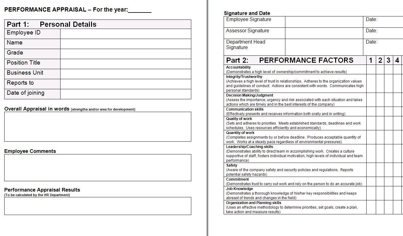 performance appraisal form Performance appraisal