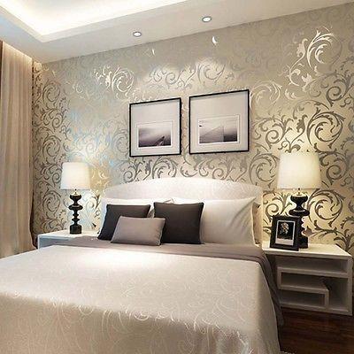 Vliestapete 3d optik vlies wand tapete barock rolle wandtapete dekoration silber home sweet for Schlafzimmer einrichten 3d
