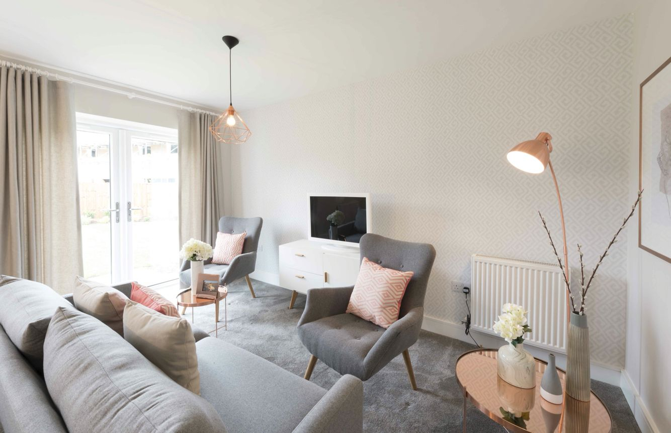 Soft grey and pink tones with copper accessories, we love the styling in our Chad Show Home at #MeonVale!