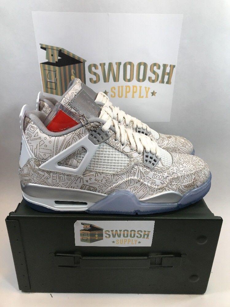 size 40 a415b a0697 Nike Air Jordan 4 Retro Laser IV Size 9 White Chrome Silver 705333 105 New   Nike  AthleticSneakers
