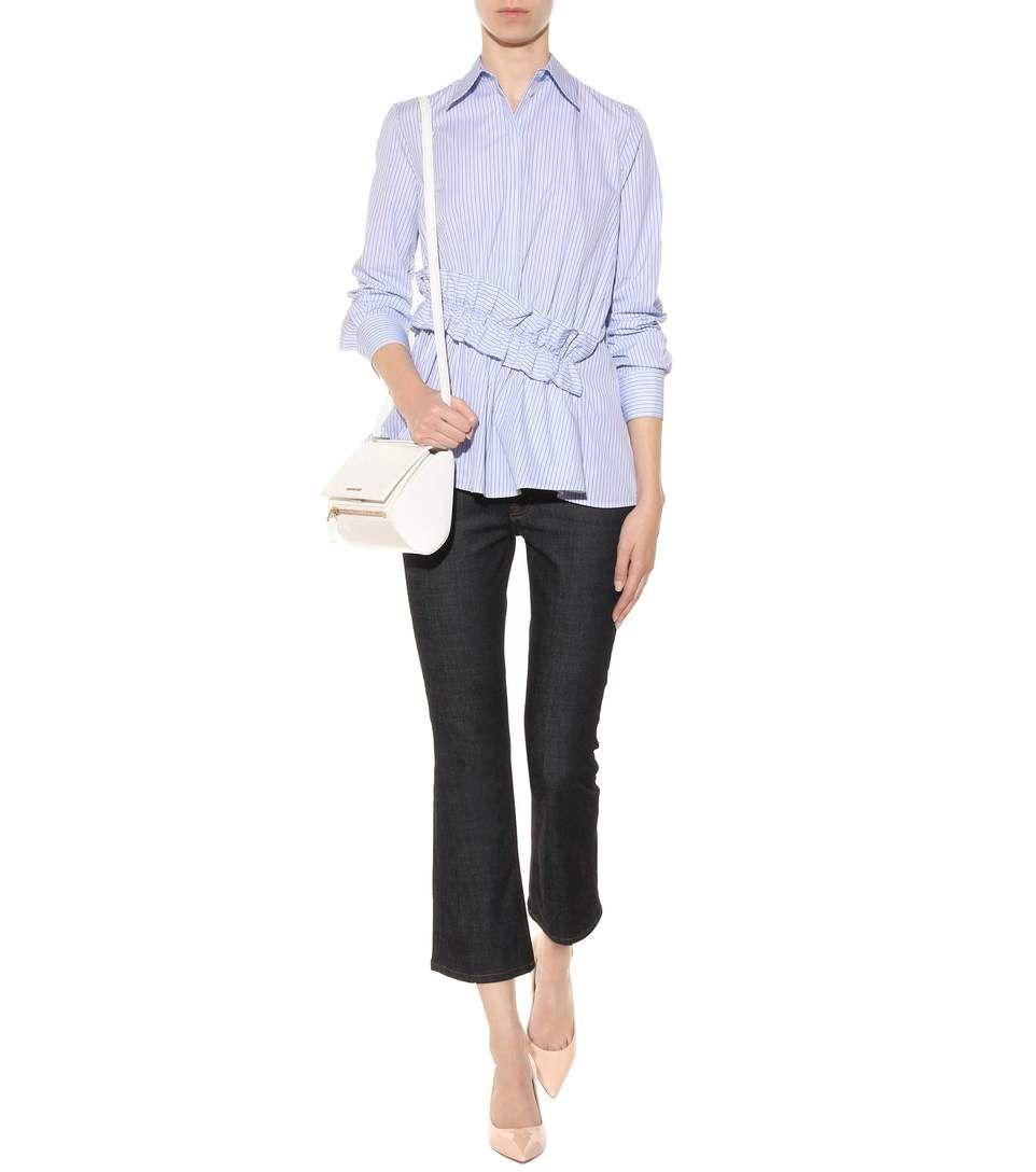 Chemise en coton à rayures bleues et blanches