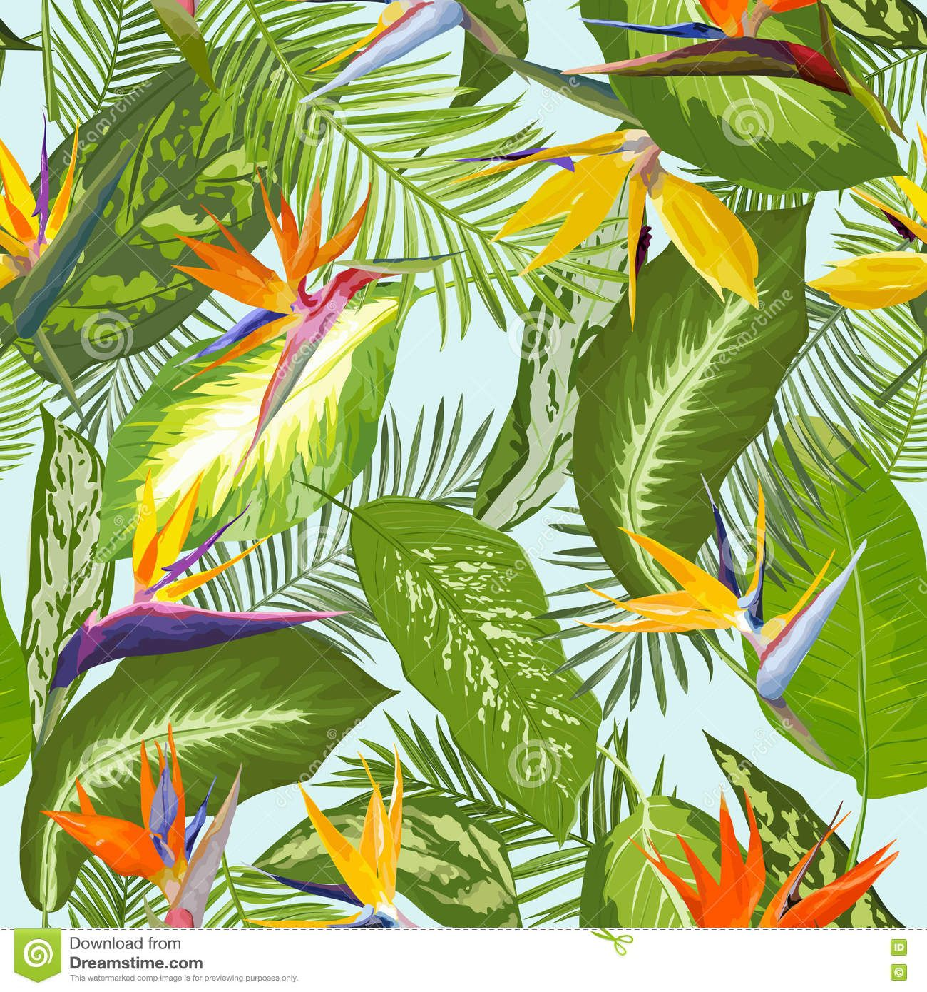 Tropical Leaves And Flowers Background. Seamless Pattern