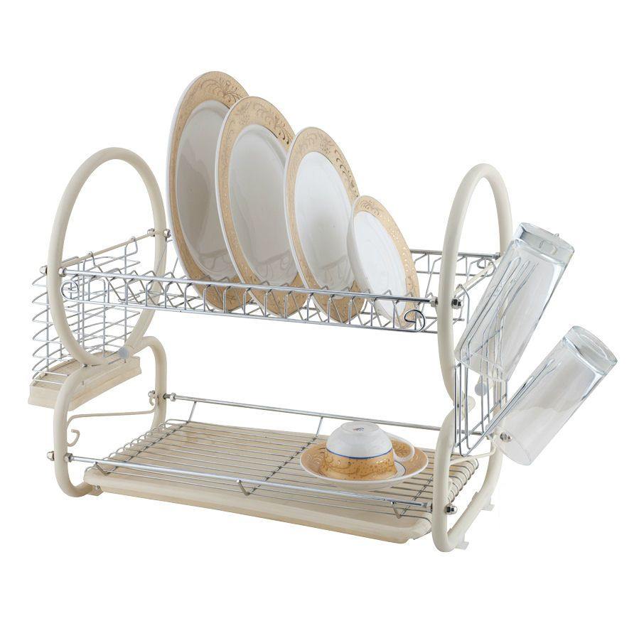 Kitchen Dish Drainer Rack Cream Stainless Steel Chrome 2 Tier Dish Drainer Rack Glass
