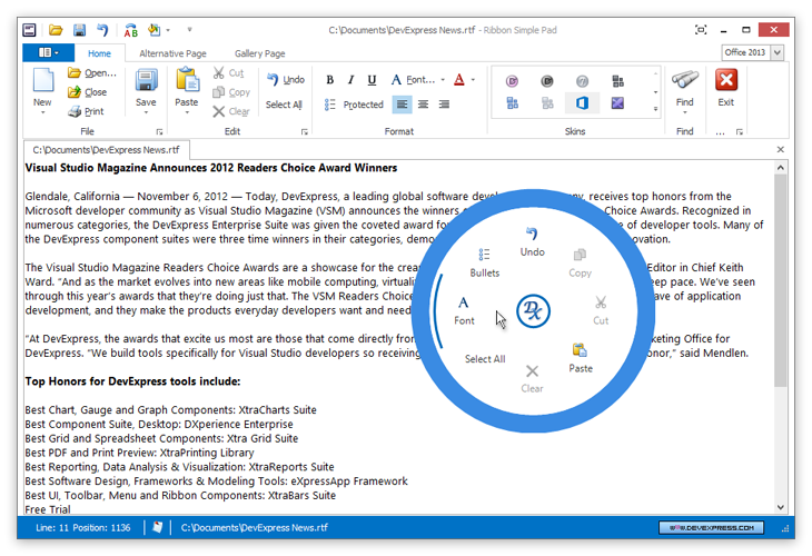 Microsoft OneNote Inspired Radial Menu: Inspired by