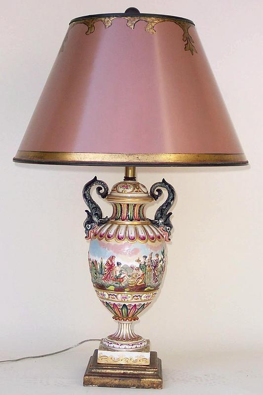 Capodimonte Porcelain Italian Capodimonte Porcelain Table Lamp