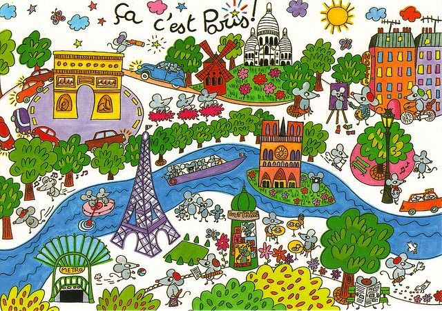 France Paris Cartoon Map Postcard Teaching French Cartoon Map French Lessons