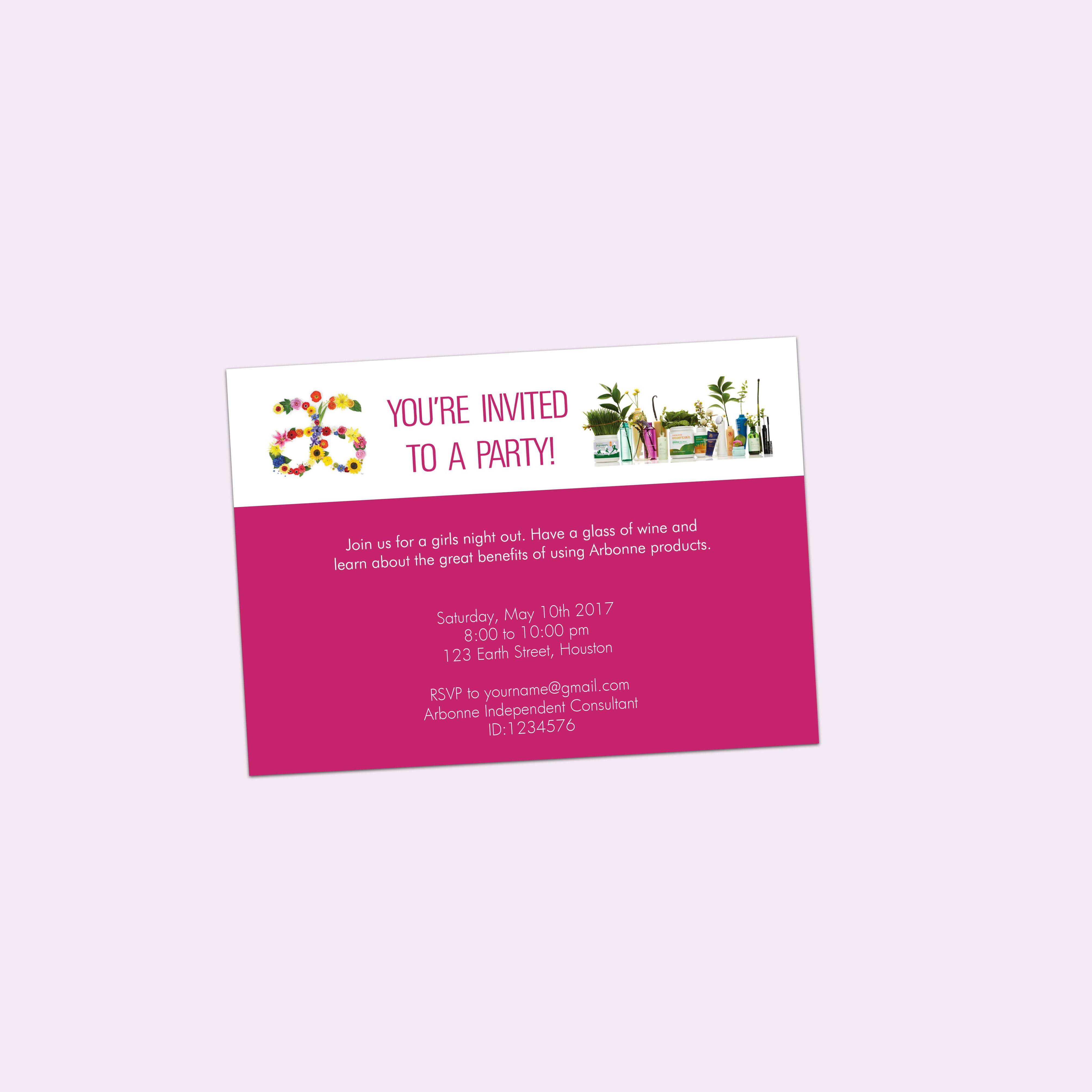 Arbonne party invitation pdf editable 5x7 flowers