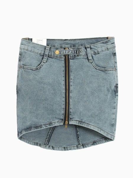 Pencil Denim Skirt With Dipped Hem.