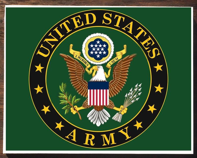 United States Army Emblem On Wooden Plaque Etsy Vintage American Art Stock Wallpaper Vintage Art