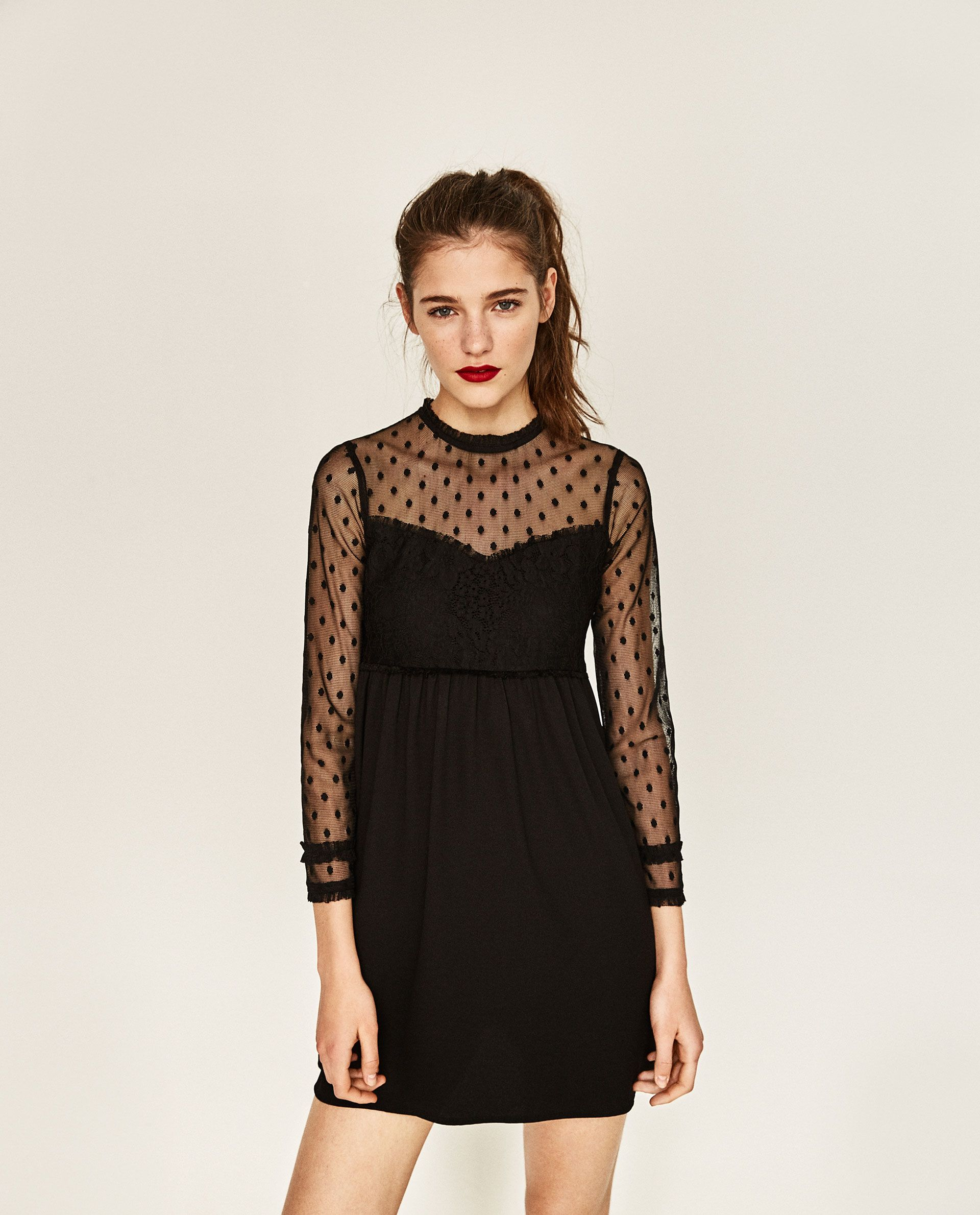 Contrast Fabric Lace Dress Lace Dress Lace Panel Dress Black Sheer Dress [ 2379 x 1920 Pixel ]