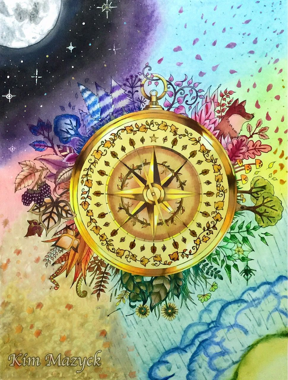 Coloring Book Enchanted Forest Compass Colored With Faber Castell Polychromo Johanna Basford Coloring Book Johanna Basford Enchanted Forest Enchanted Forest