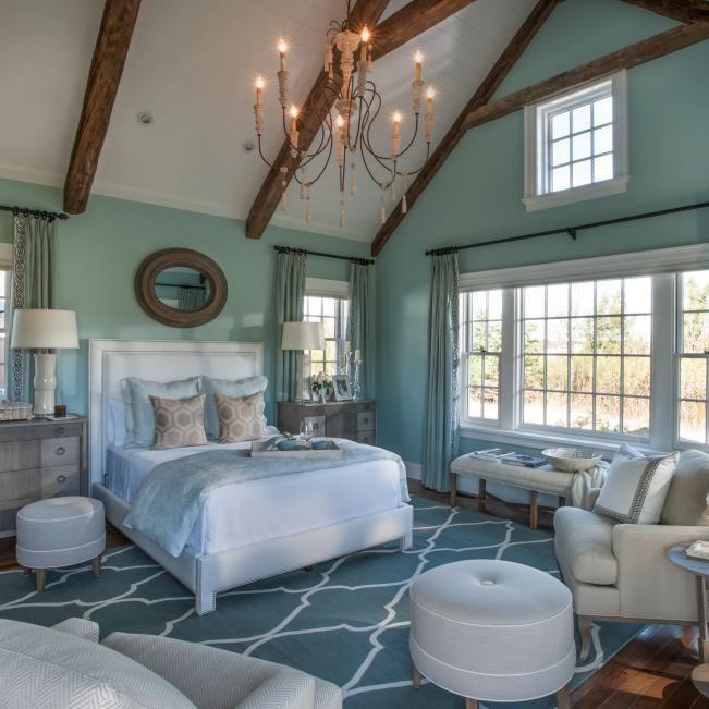 Neutral Bedroom With Aqua Accent Wall