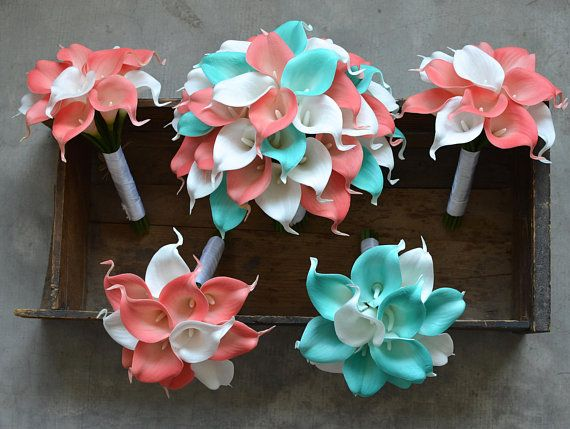 Turquoise Coral Bridal Bouquets Groom Boutonniere Rustic Wedding Bouquets Real Touch Calla Lilies #fantasticweddingbouquets