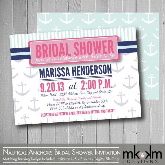 Nautical Anchors Bridal Shower Invitation