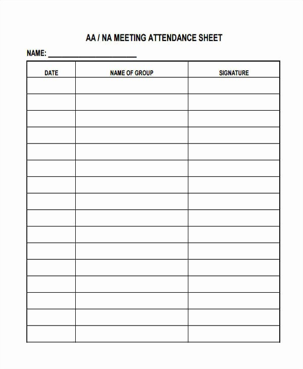 It is a photo of Printable Aa Attendance Sheet with regard to aa meeting tracking