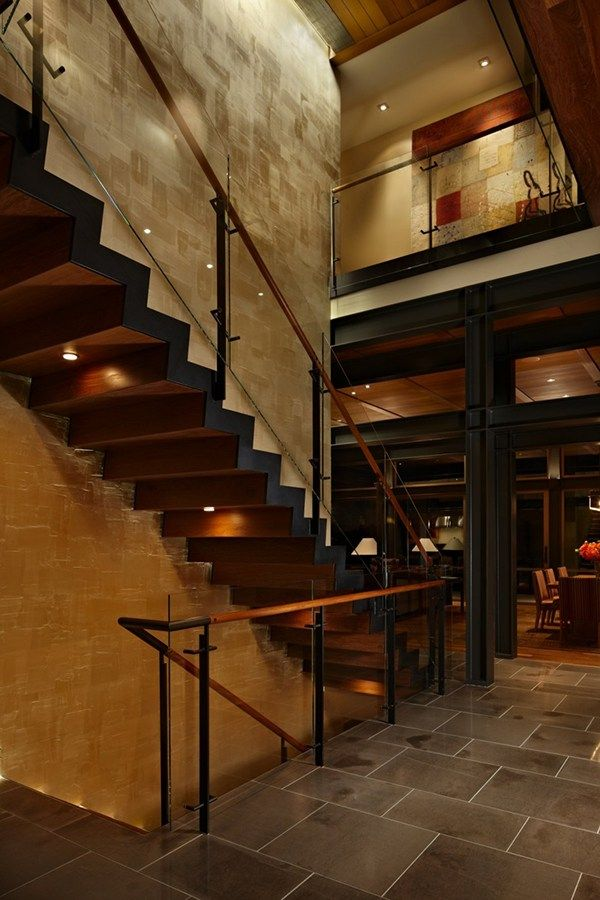 interior decorated among modern minimalist staircase also concrete tile flooring
