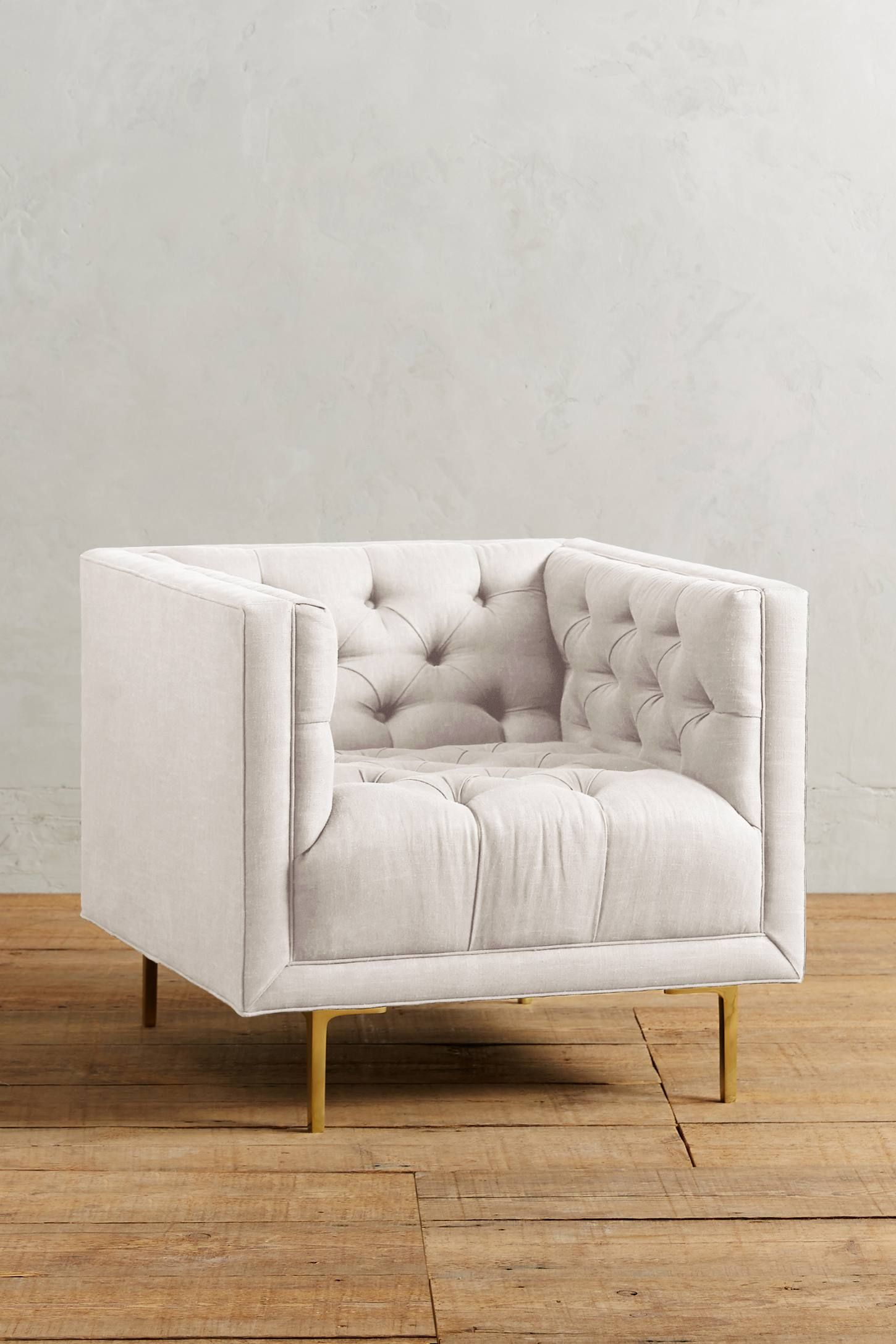 linen tufted square chair with brass legs #homedecor #interiordesign ...