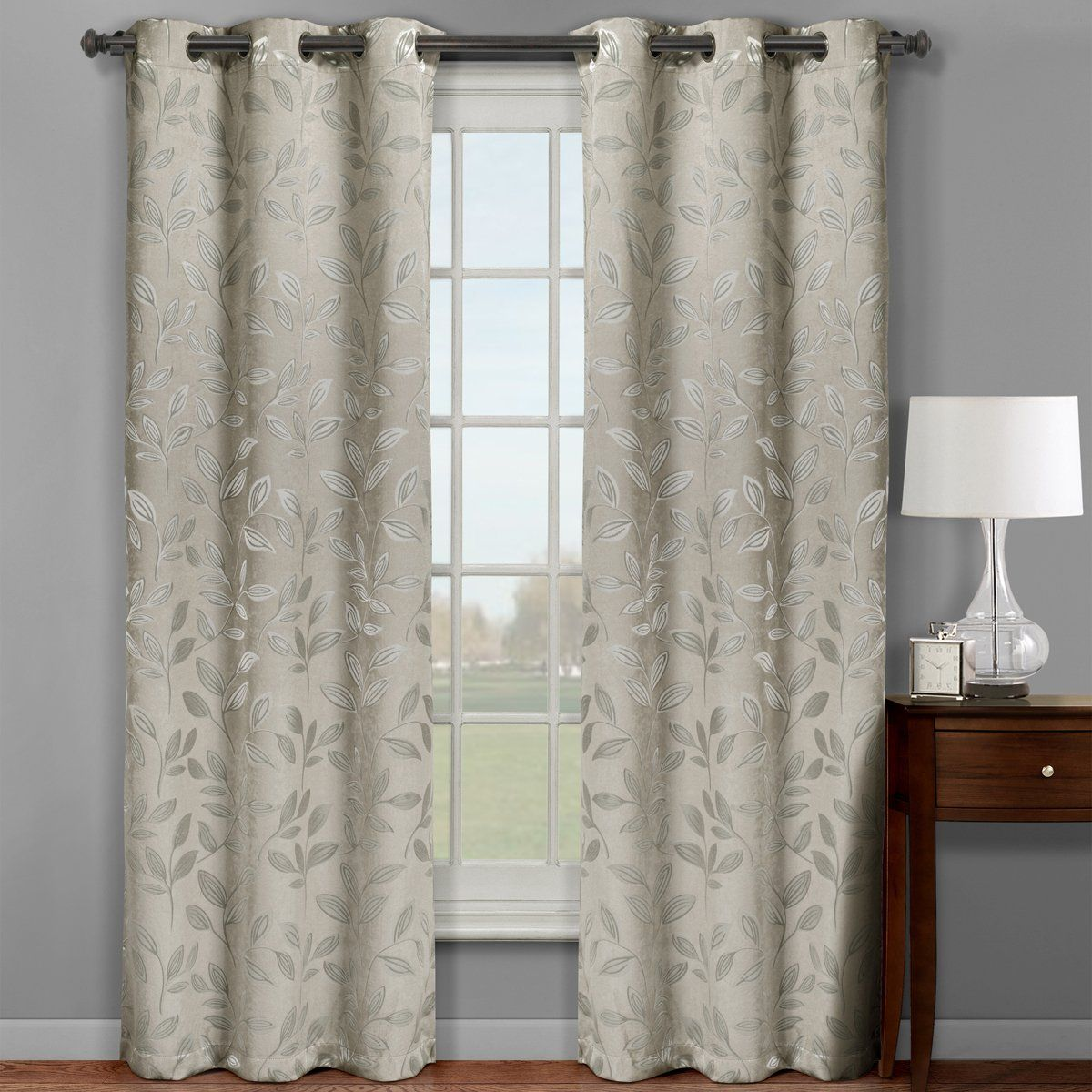 Robot Check Insulated Curtains Drapes Grommet Panel Curtains