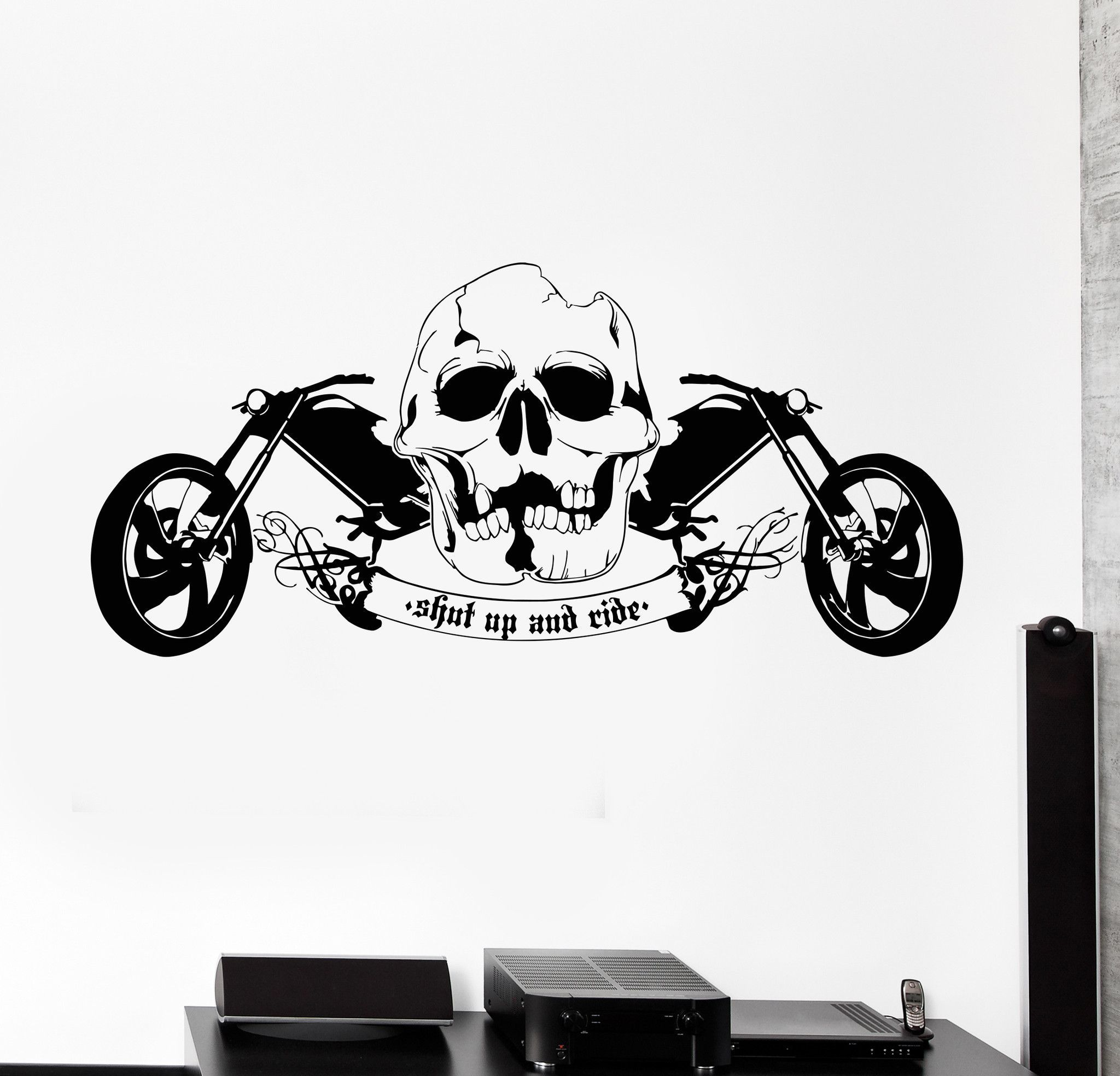 Vinyl wall decal cool skull motorcycle speed biker driver garage cruiser sticker 658ig vinyl