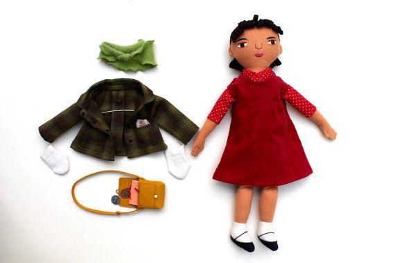 Lana de muñeca de chica con traje de Colegio
