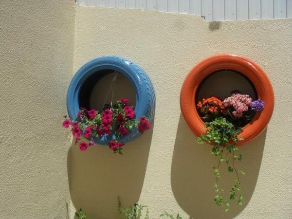 Blumentopf Selber Machen Alte Reifen Originelle Deko Ideen ... Originelle Blumentopfe Selbst Gemacht
