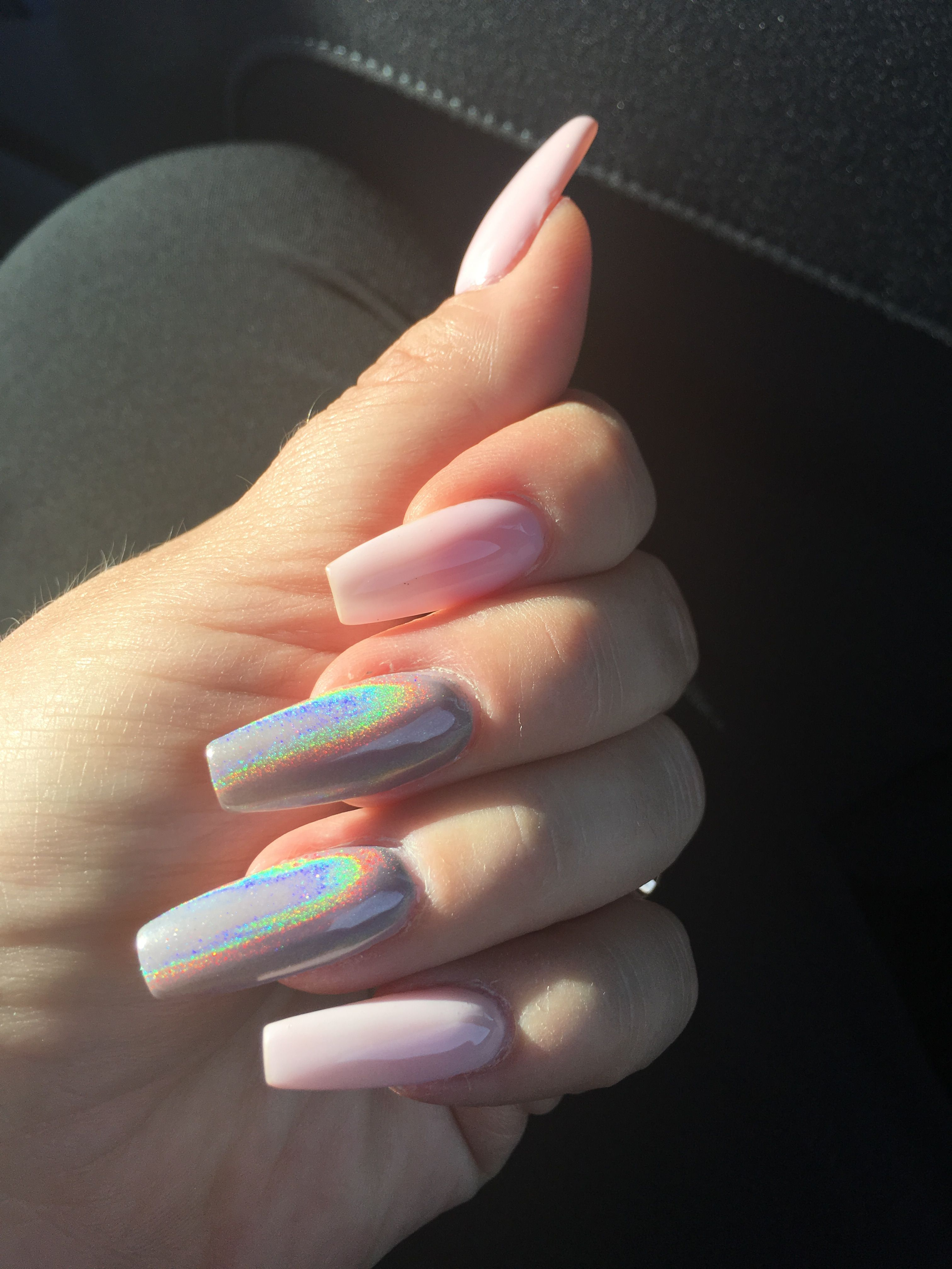 Iridescent Nails White Shellac With Holographic Glitter Holographic Nails Acrylic Holographic Glitter Nails Rave Nails