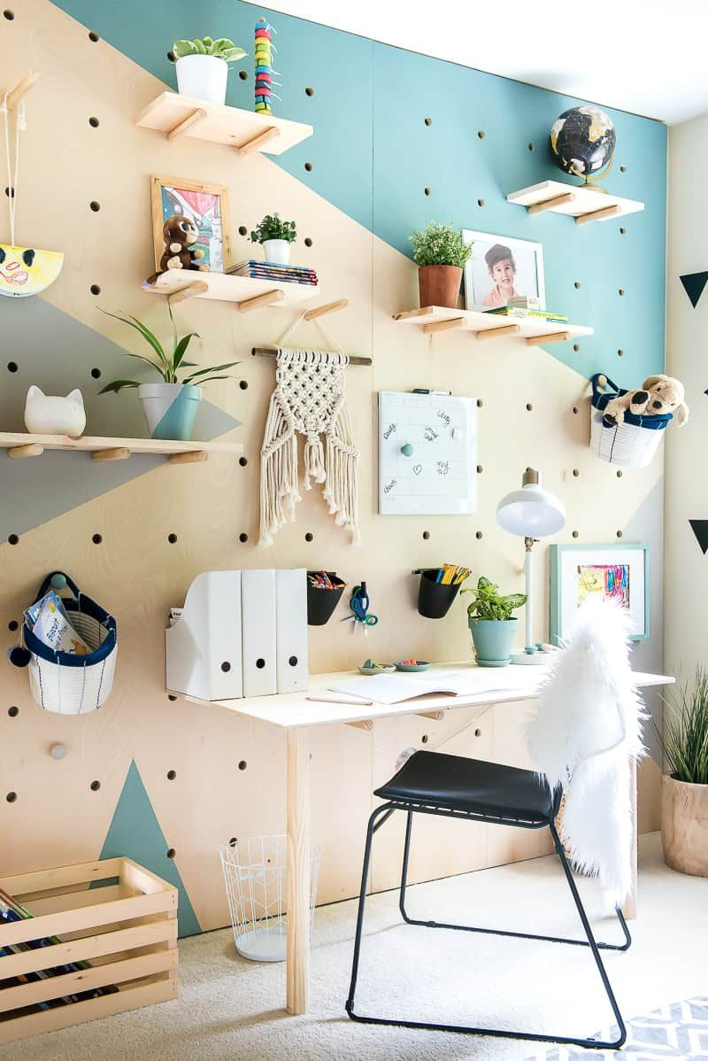 DIY PLYWOOD PEGBOARD WALL. SO COOL AND CHIC! Easy home