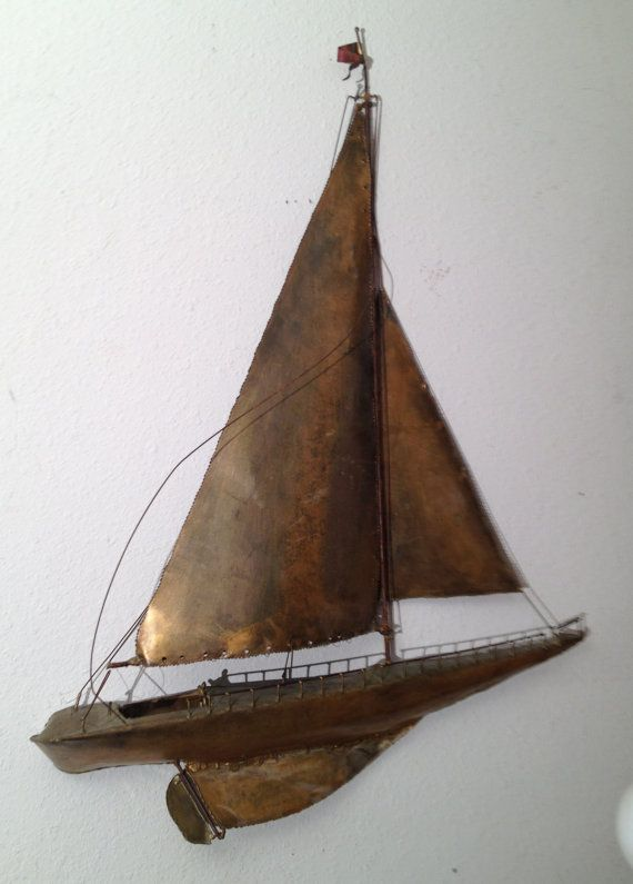 Large Vintage Sailboat Ship Metal Wall ART Sculpture ...