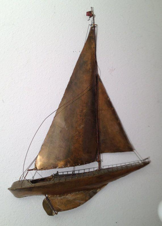 Large Vintage Sailboat Ship Metal Wall Art Sculpture Nautical Jere