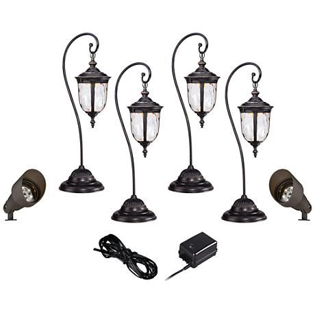 This Led Landscape Kit Is Easy To Install And Features 4 Bellagio Path Lights With Decorative Glass Plus 2 Spot Lights