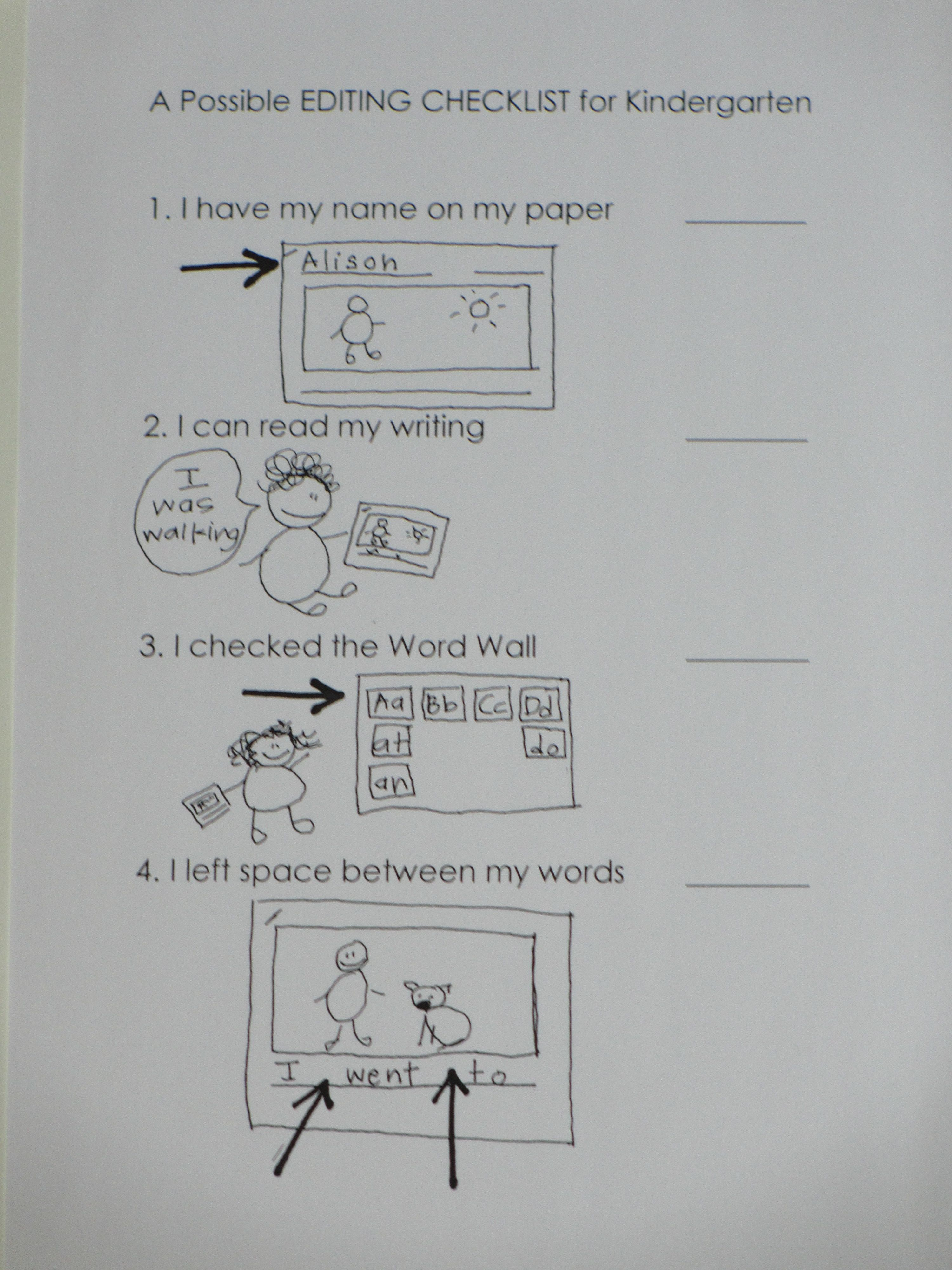 writing checklist for kindergarten Our new author's editing checklist  yesterday my principal emailed us with the official kindergarten writing assessment date: may 18th.