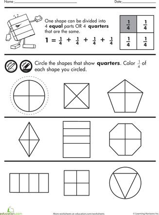Shape Fractions Quarters Worksheet Education Com Fractions Worksheets Fractions Worksheets