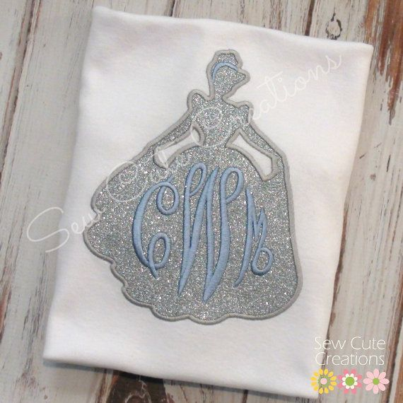 Personalized Monogram Cinderella silhouette shirt Girls boutique short sleeve long custom embroidered sew cute creations
