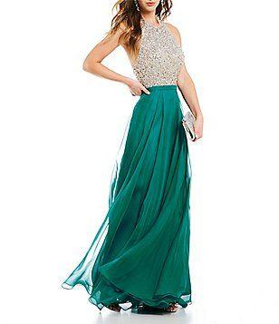 015398bf9f6 Coya Collection Halter Neckline Beaded Bodice Long Dress Formal Prom