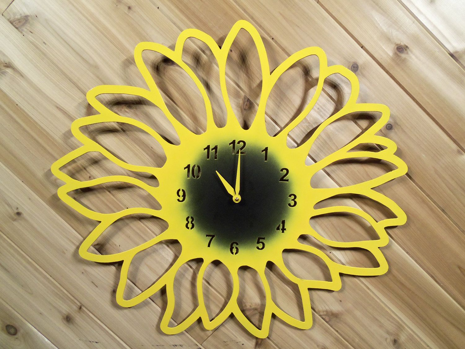 Sunflower Clock - Large Metal Wall Clock - Metal Wall Art By ...