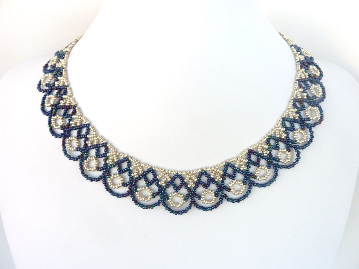 FREE beading pattern for lovely scalloped lace necklace made from ...