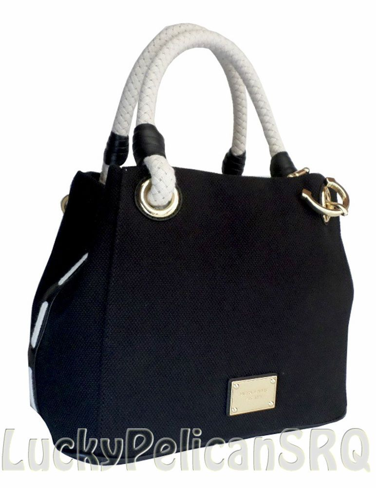 157012bce154 Michael Kors BLACK Canvas Gold Anchor Nautical Marina Grab Bag Tote NWT