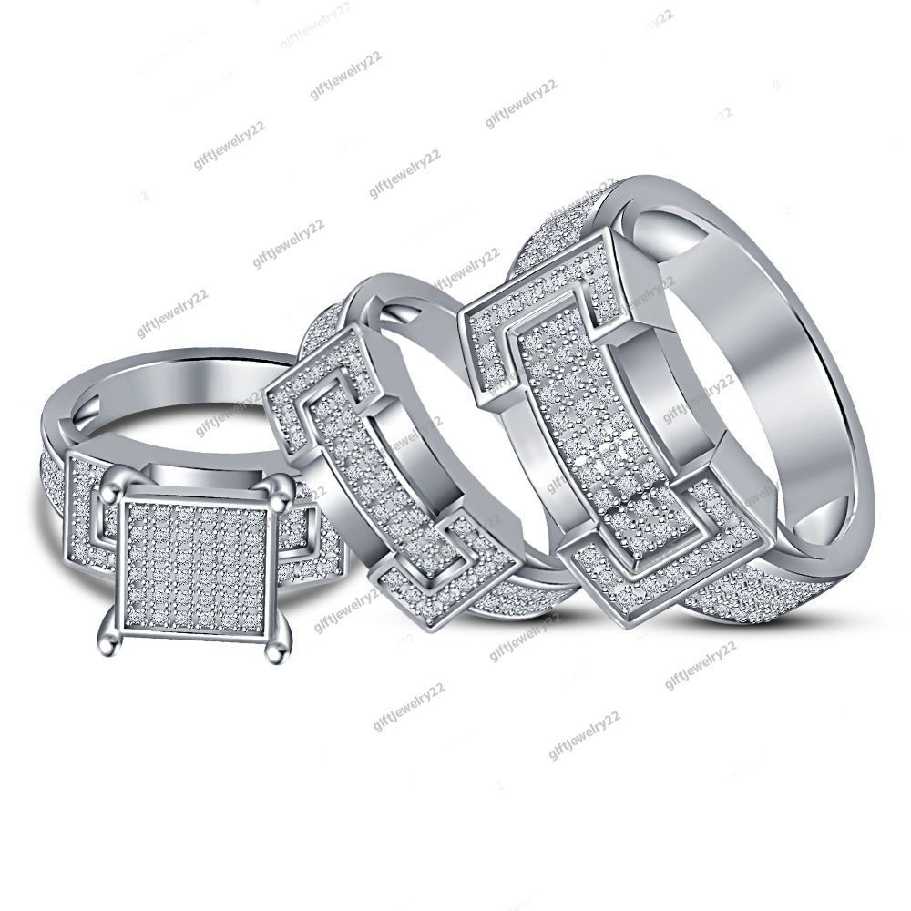 Bride Groom Engagement Wedding Trio Ring Set In White Gold Over