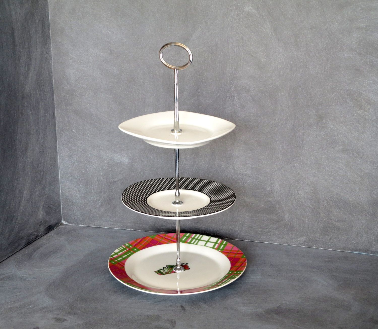 Triple Tiered Plate Stand Mini Plate Stand 3 Tier Server Appetizer Server Tea Stand Tiered Pastry Plate Jewelry Hol Mini Plate Plate Stands Tiered Server
