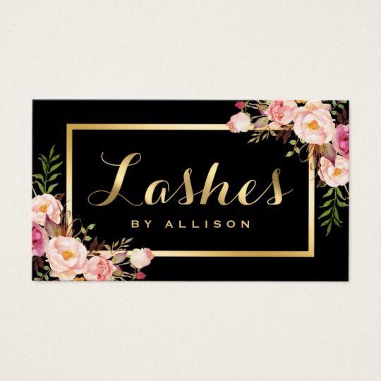 Lashes Script Modern Makeup Black Gold Floral Business Card Zazzle Com Floral Business Cards Salon Business Cards Beauty Business Cards