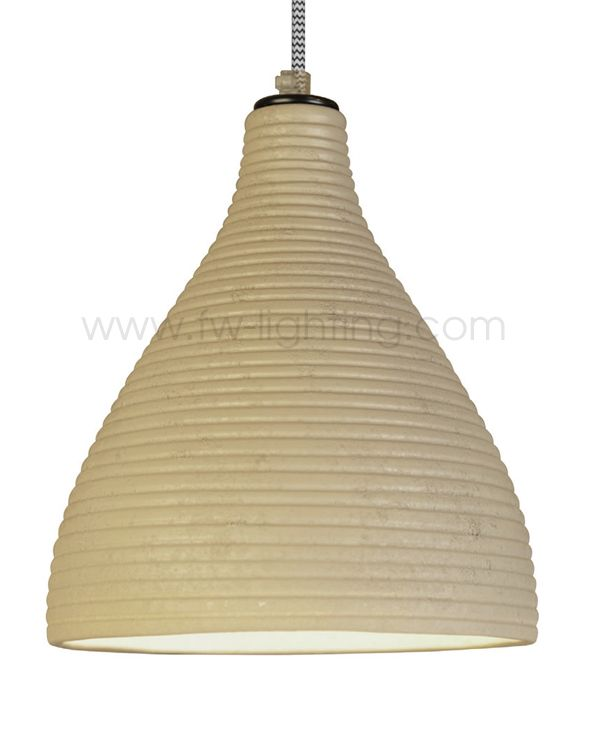 Ineslam Ceramic Pendant Light Cartago Ribbed Design In Natural Stone Finish