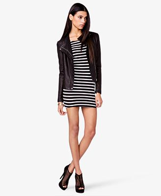 Faux Leather & Knit Moto Jacket   FOREVER21 - 2036378987