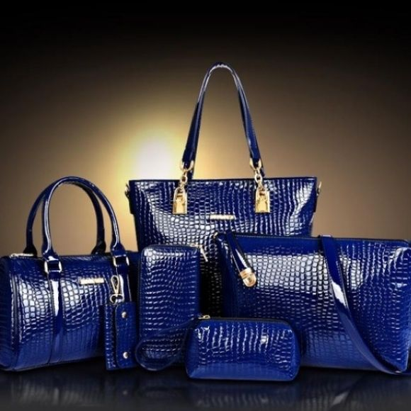 ☀️Chinese blue crocodile faux leather purse bundle 6 piece blue croc purse bundle NWOT Bags
