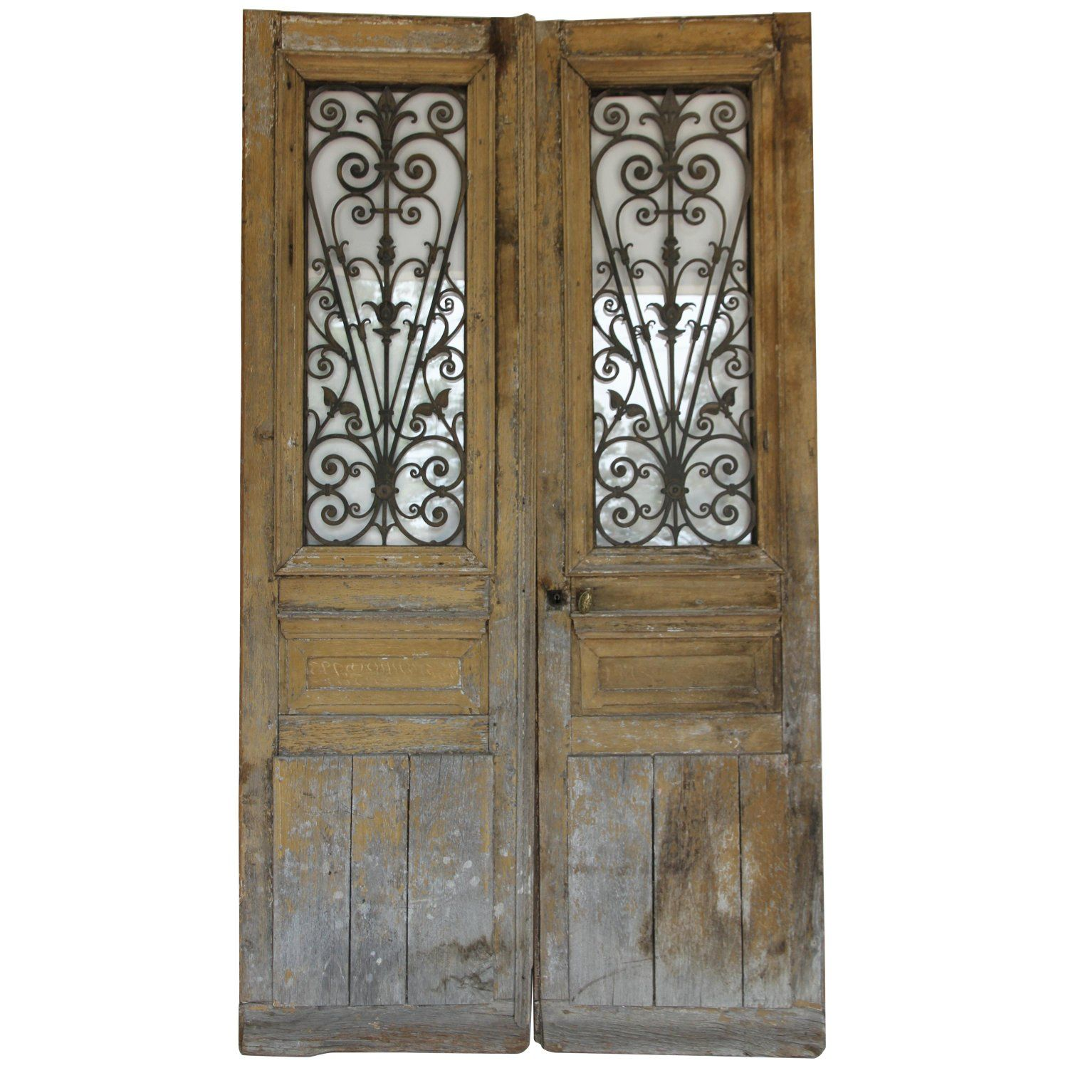Antique French Doors with Iron and Glass Panels - Antique French Doors With Iron And Glass Panels My 1stdibs
