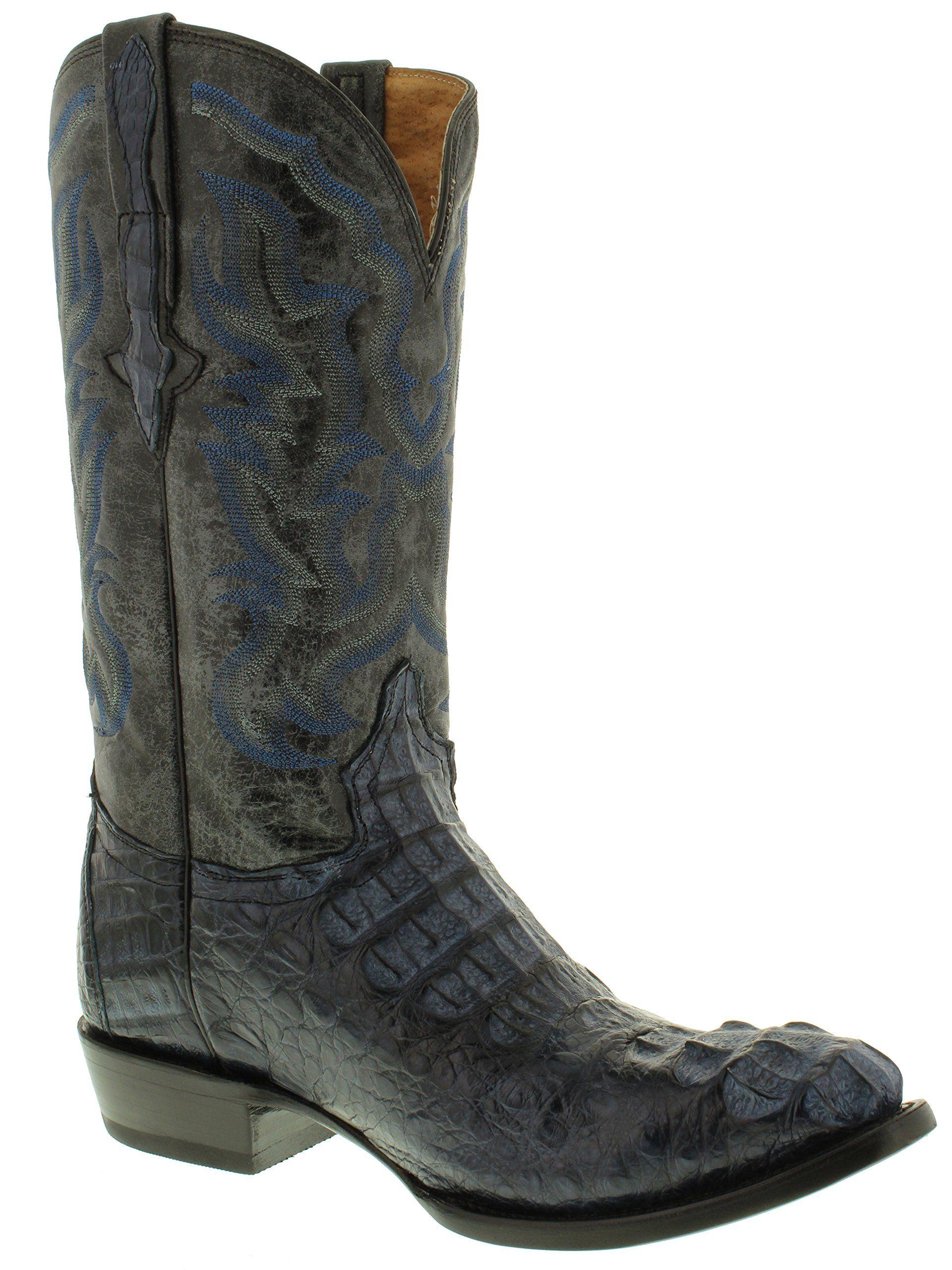 f3192cb5921 El Presidente Mens Denim Blue Genuine Crocodile Cowboy Boots Round ...