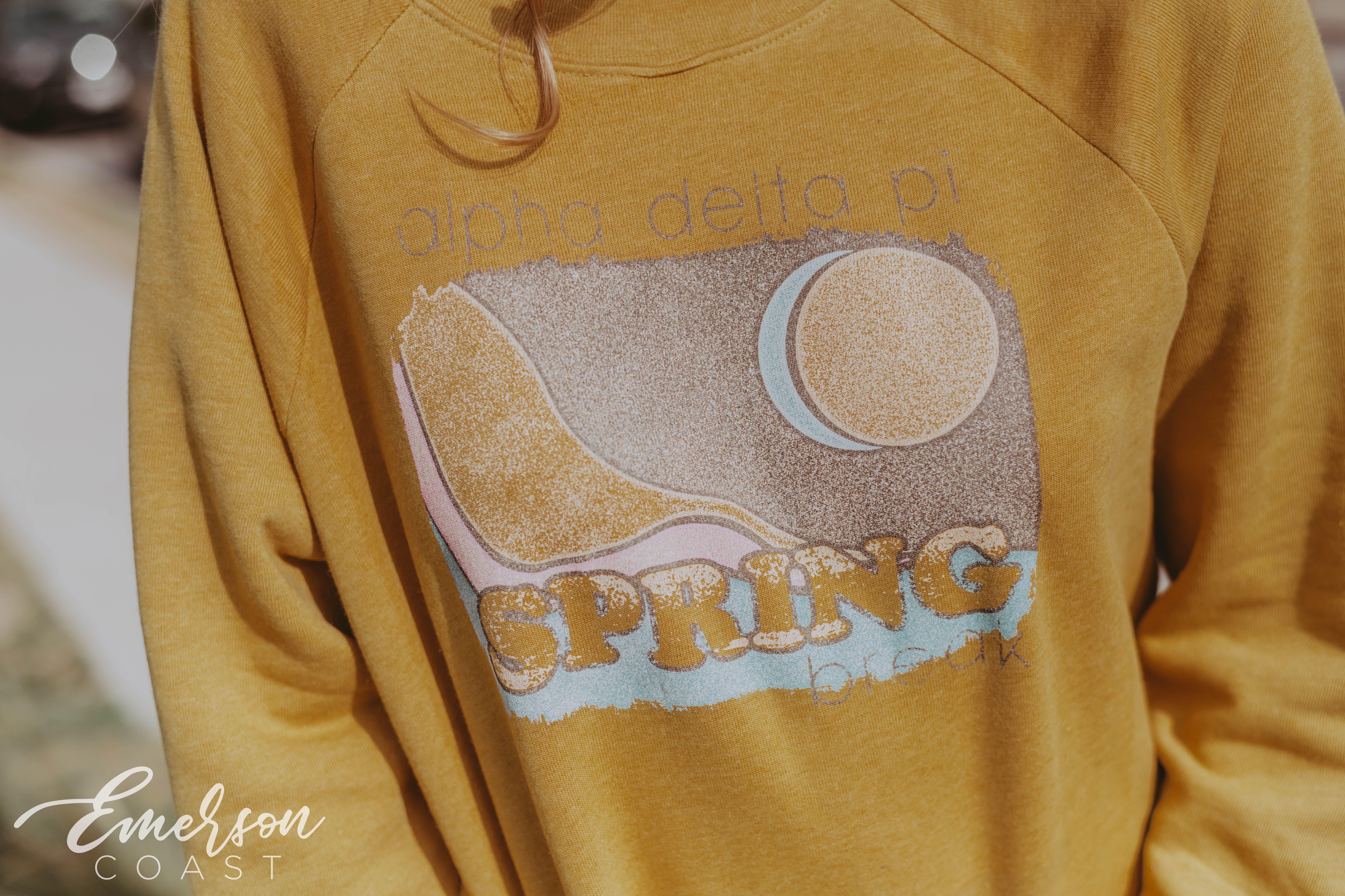 Adpi Spring Break Distressed Design Crewneck Sorority Shirts Alpha Delta Pi Custom Shirts [ 5504 x 8256 Pixel ]