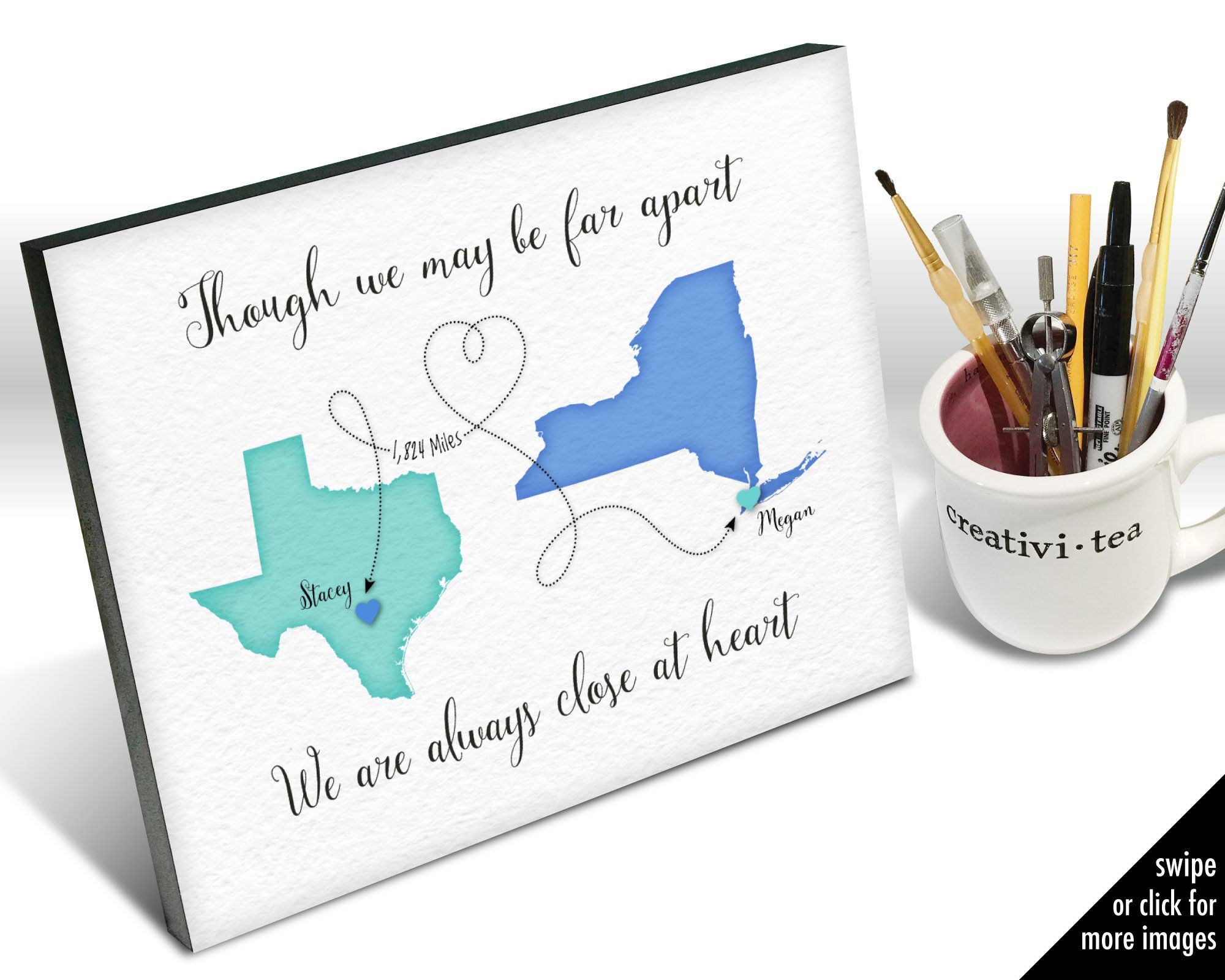 Though We May Be Far Apart Gift For Friend Who Lives Far