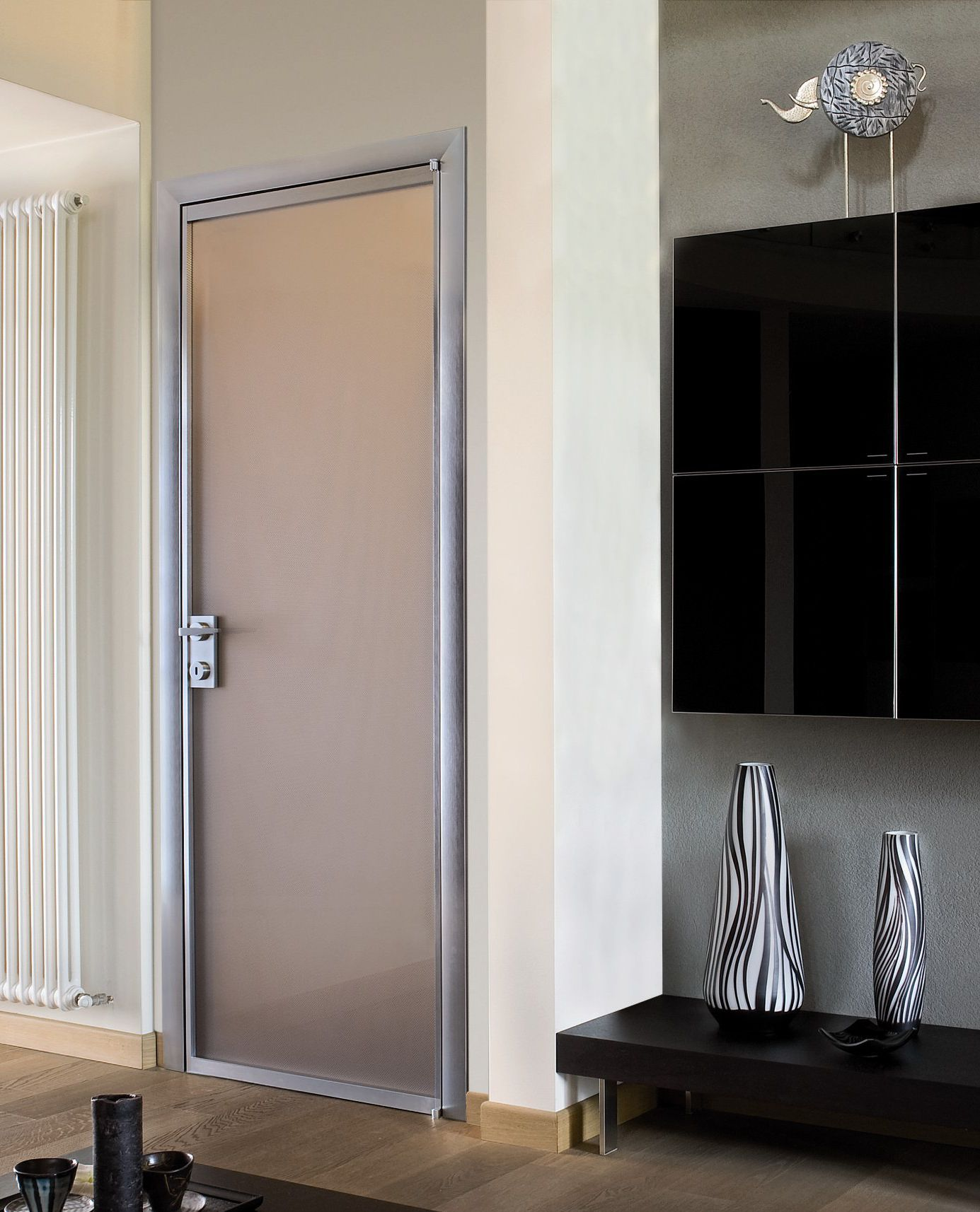 contemporary interior doors with frosted glass and wall